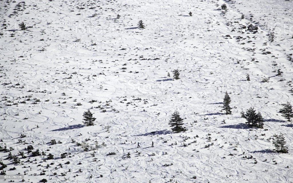 Ski trail snow stock photo