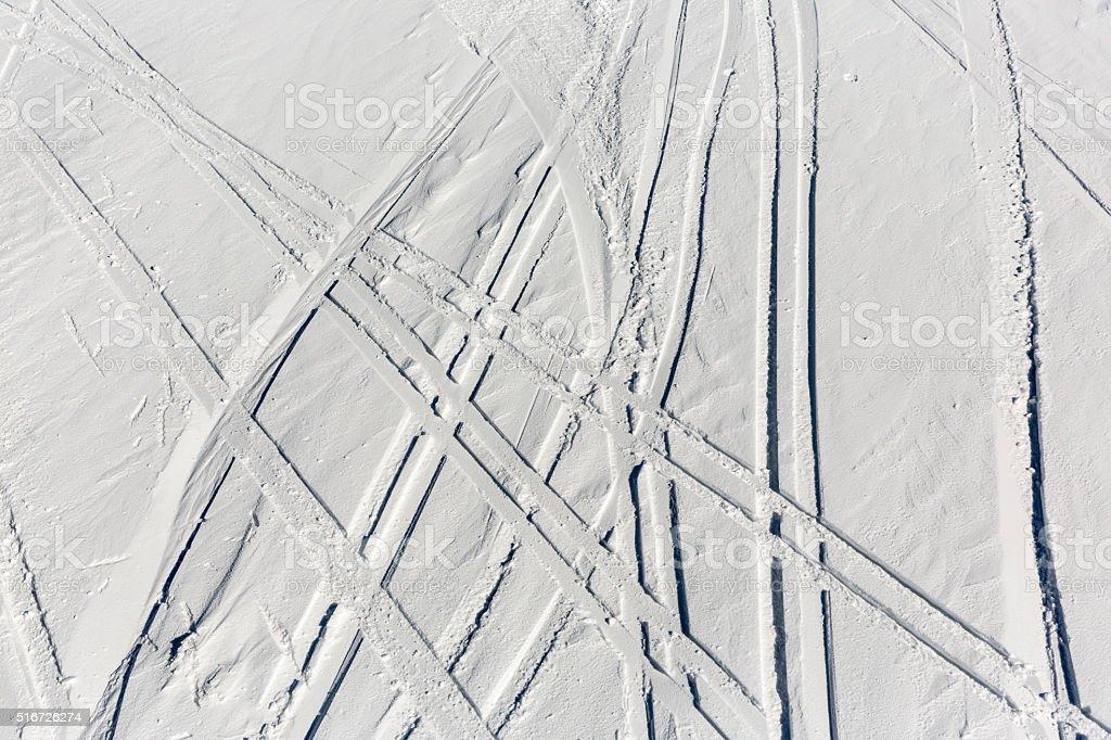 Ski trails off-piste stock photo