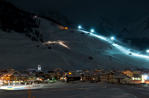 Ski village night scenario