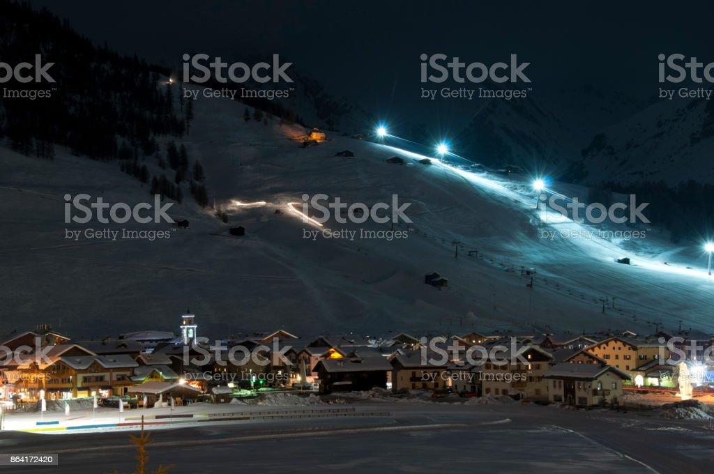 Ski village night scenario royalty-free stock photo