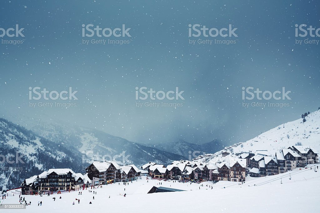 Ski Village On A Snowy Day stock photo