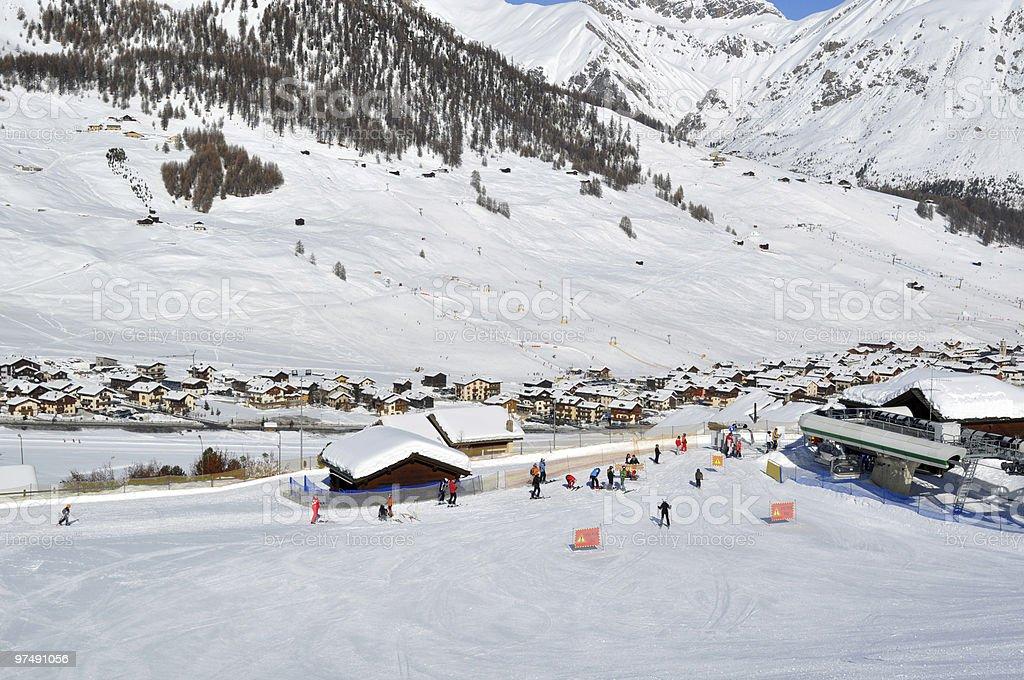 Ski village scenario royalty-free stock photo