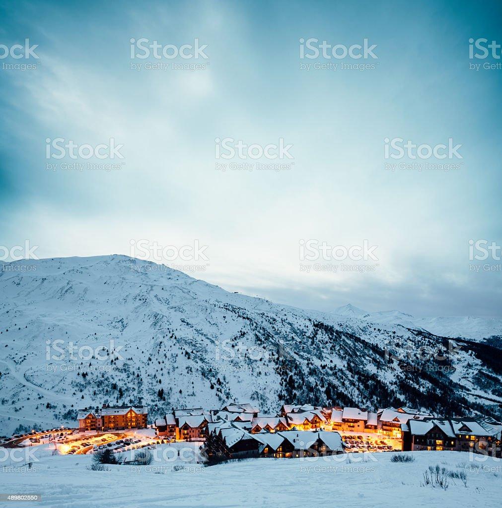 Ski Village Valmeinier In France stock photo