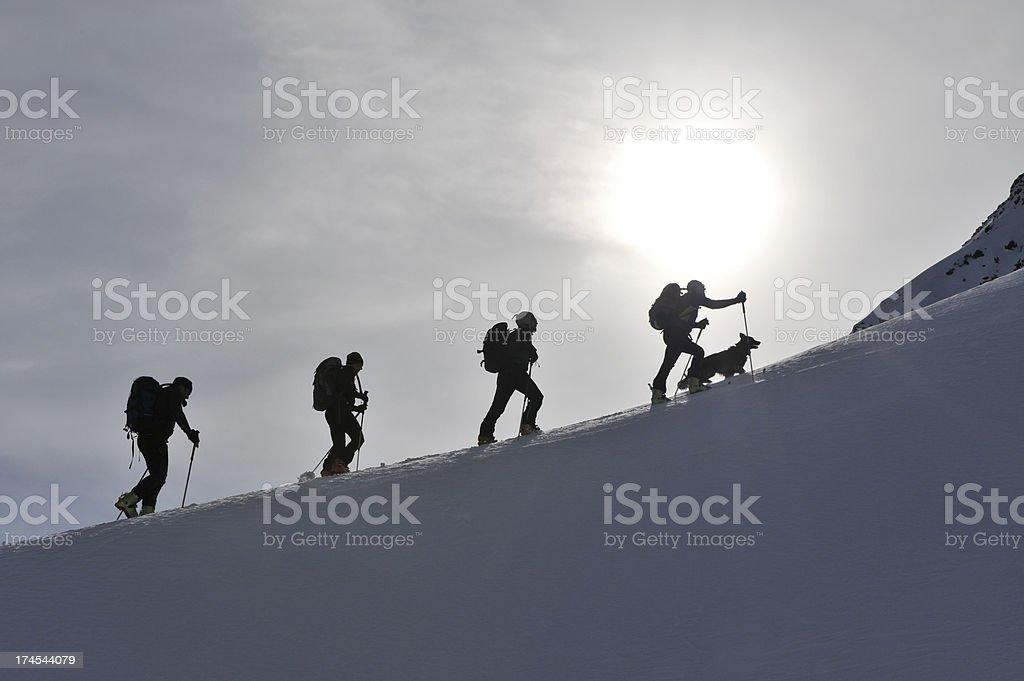 ski walking group with dog royalty-free stock photo