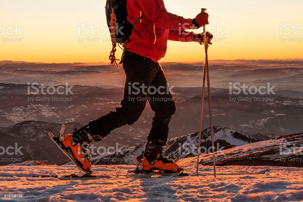 Ski walking stock photo