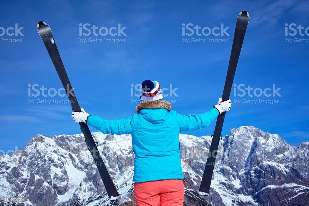 Ski, winter, snow, skiers, sun and fun stock photo