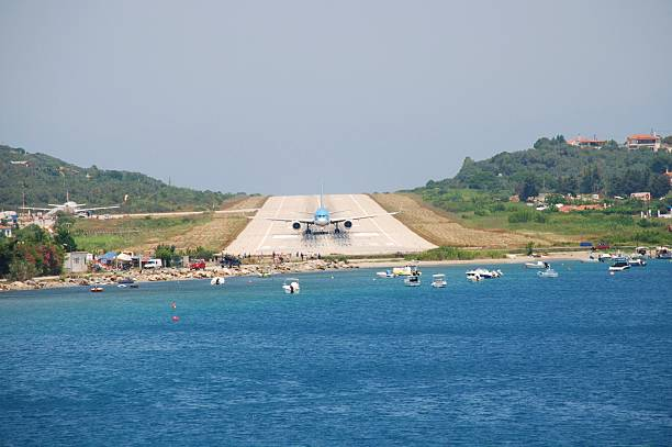 Skiathos airport, Greece stock photo