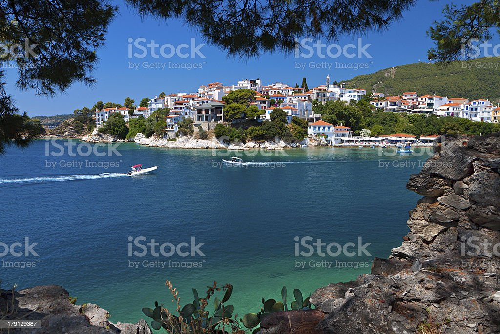 Skiathos island in Greece. View of Plakes area. stock photo