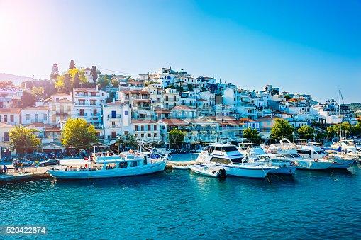 Skiathos town, Skiathos island, Sporades, Greece in afternoon.