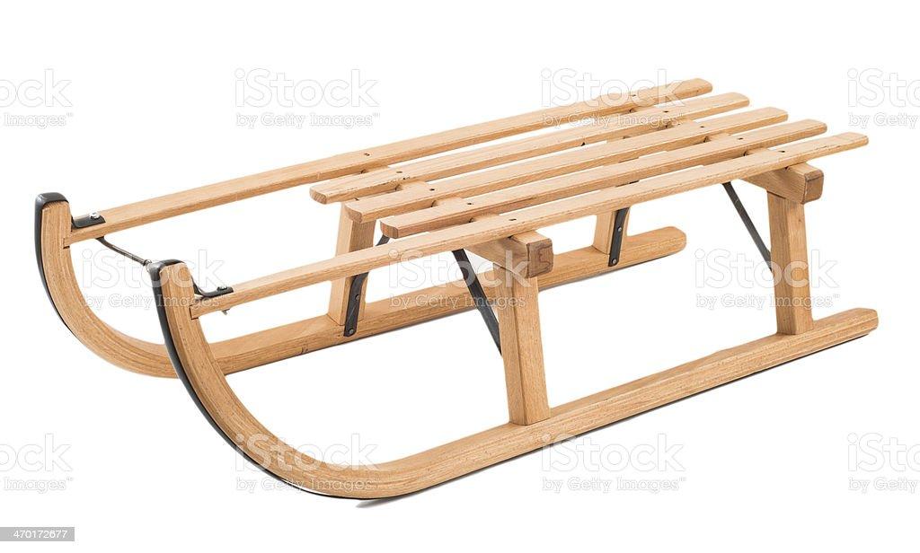 skid isolated on white - Holzschlitten Produktfoto stock photo