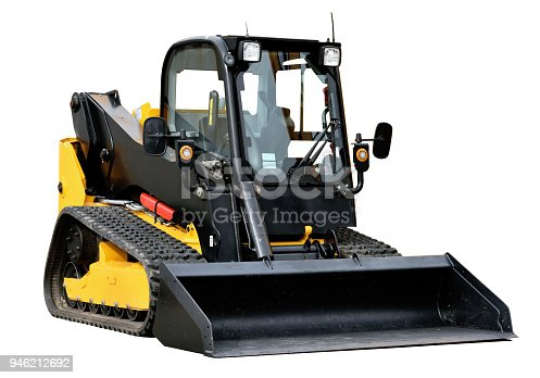 Skid loader or bobcat construction equipment isolated over white background