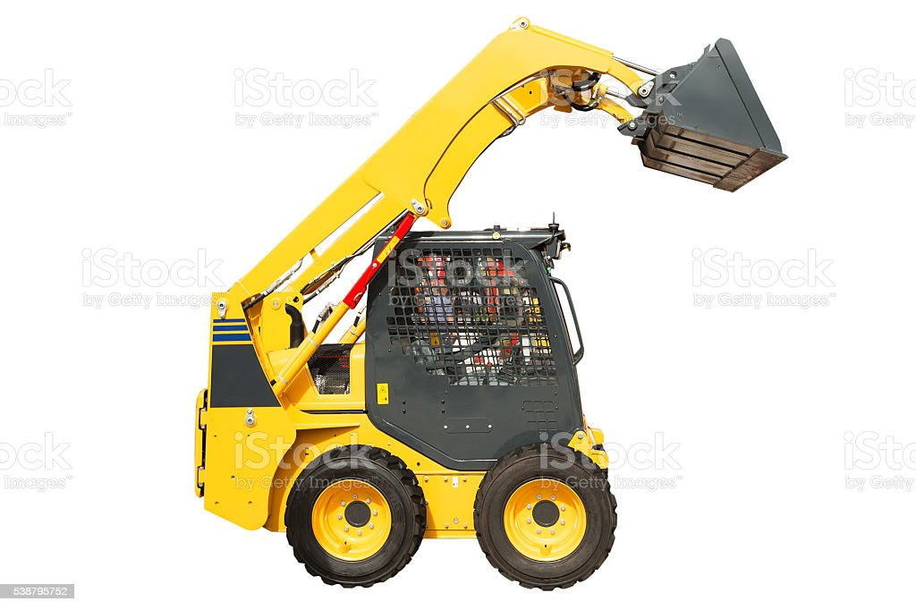 Skid steer loader isolated on white stock photo