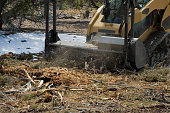 A skid steer mulches brush on a land clearing project in Utah.