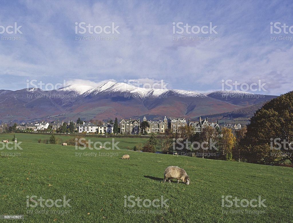Skiddaw above Keswick by Derwentwater Cumbria stock photo