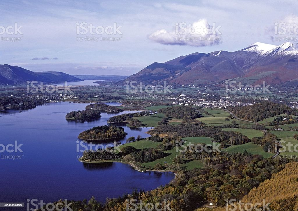 Skiddaw and Derwentwater Cumbria England stock photo