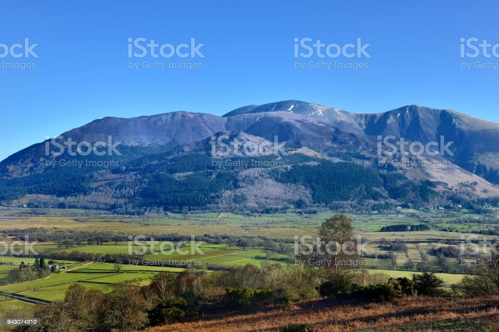 Skiddaw fells above Bassenthwaite stock photo