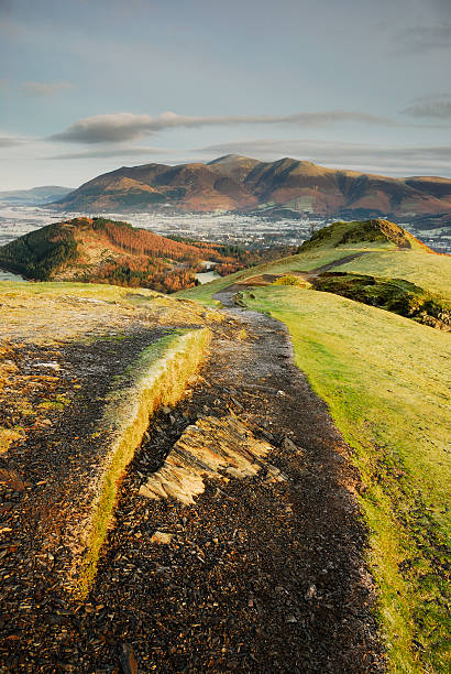 Skiddaw from Cat Bells in the English Lake District stock photo