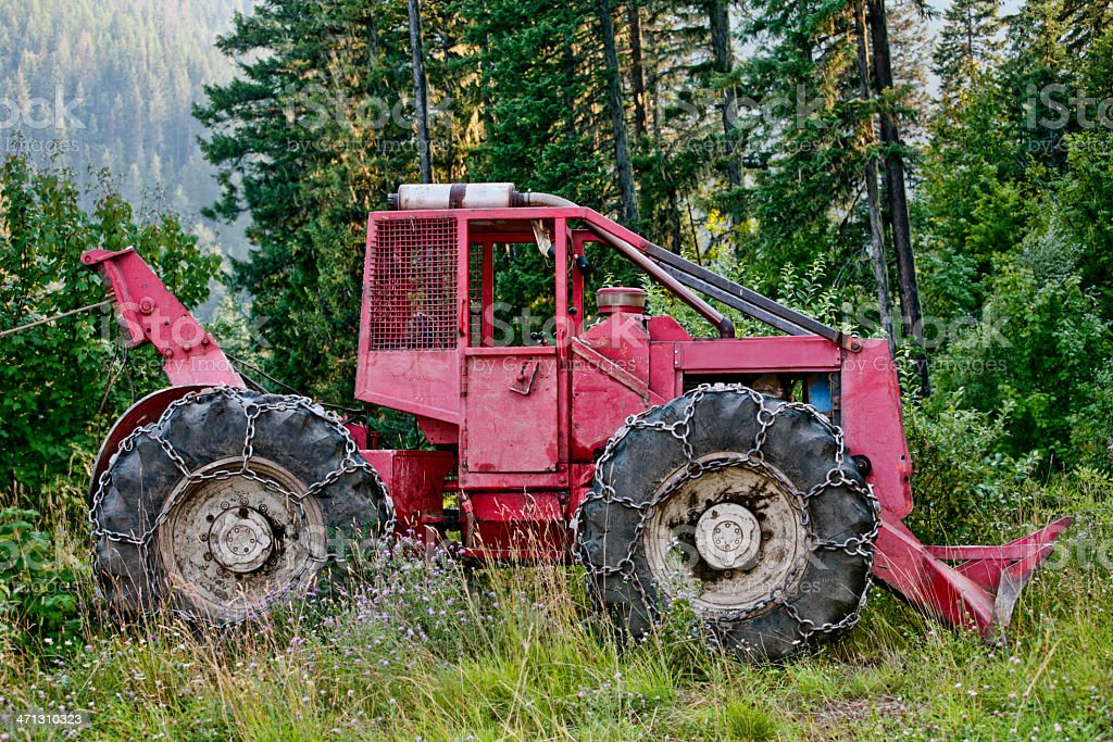 Skidder on Logging Road near Nelson, BC, Canada royalty-free stock photo