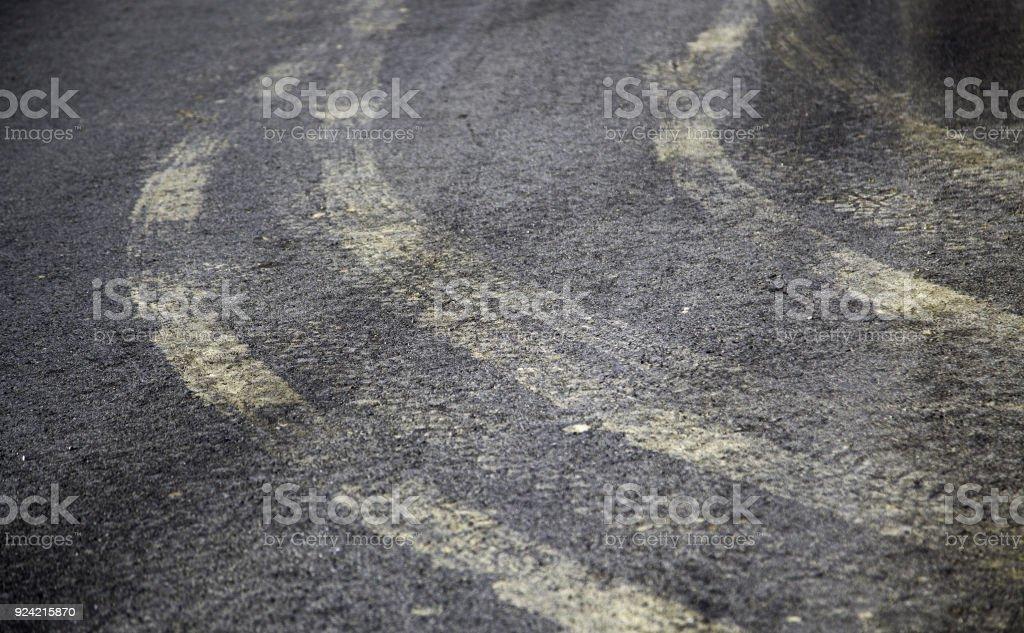 Skidding road markings stock photo