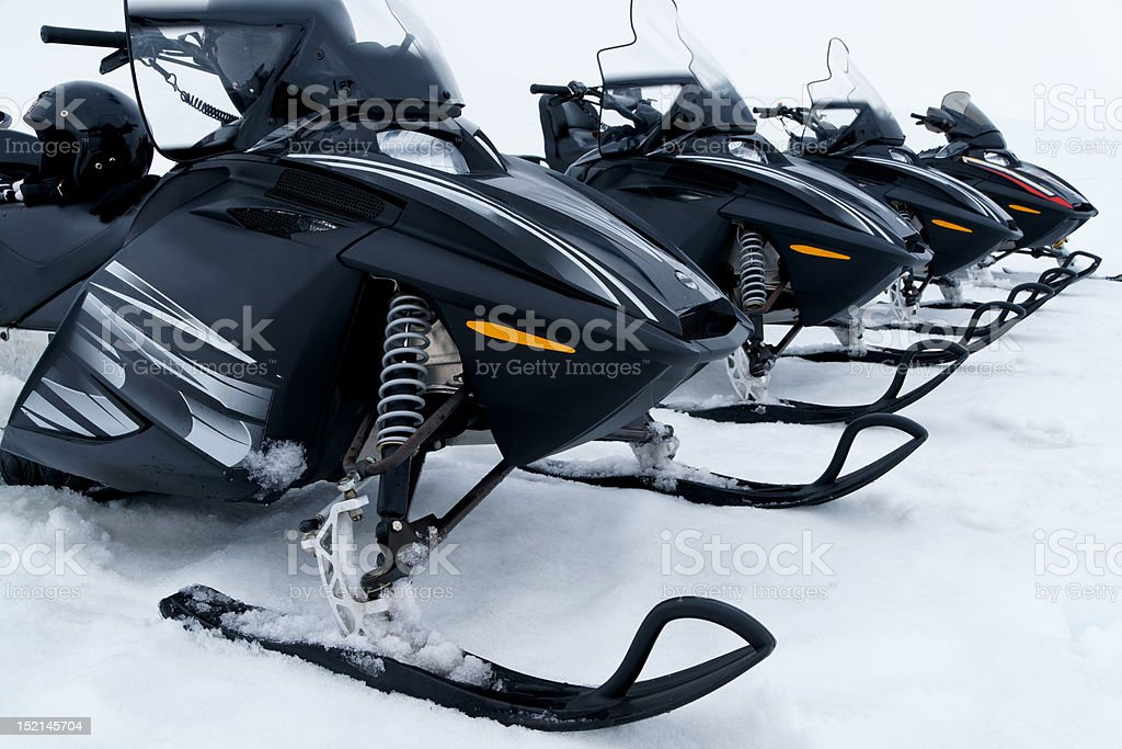 Skidoo's in a row stock photo