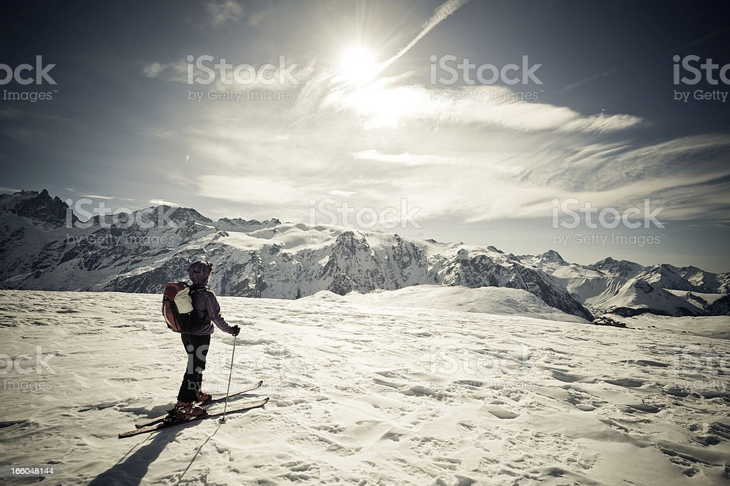 Skier Against Spectacular Mountainscape royalty-free stock photo