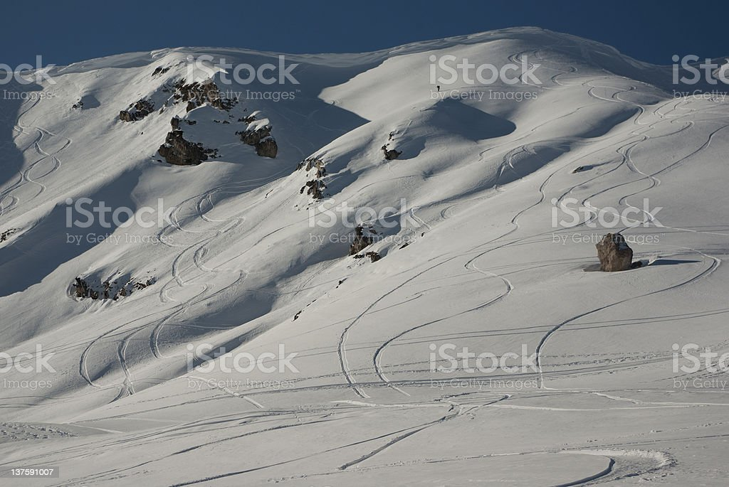 Skier alone on the top off a mountain stock photo