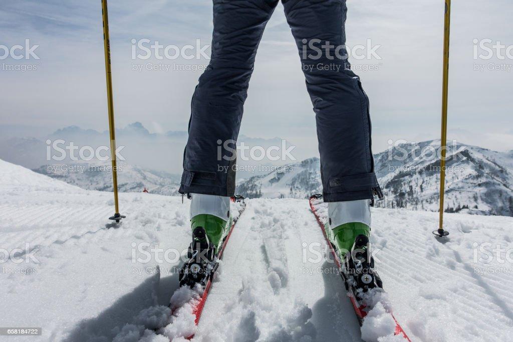 Skier and mountains stock photo