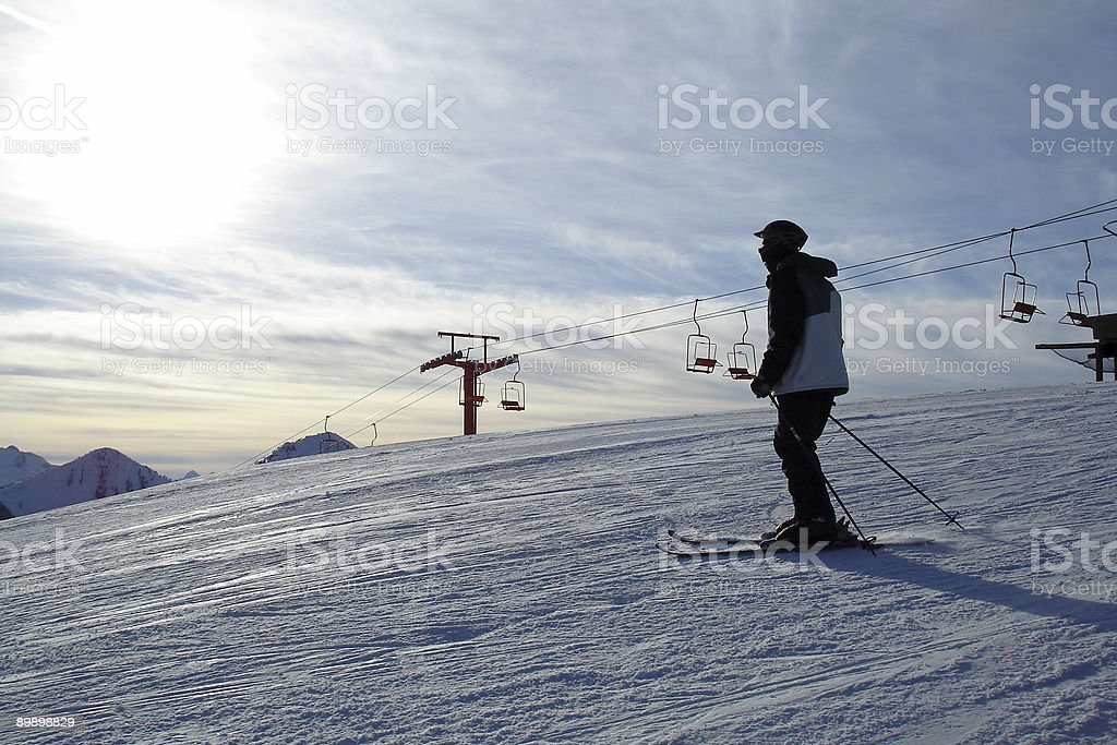 Skier at the Top royalty-free stock photo