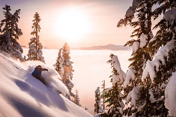 Skier carving fresh powder in sunset.