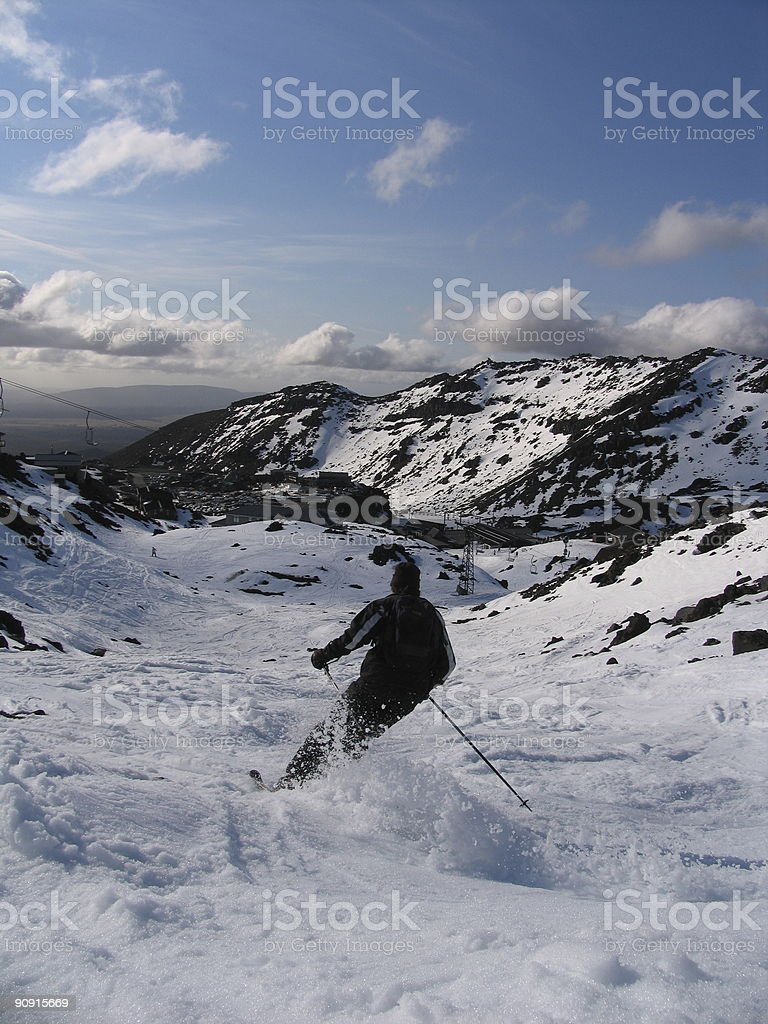 Skier Carving it Up stock photo