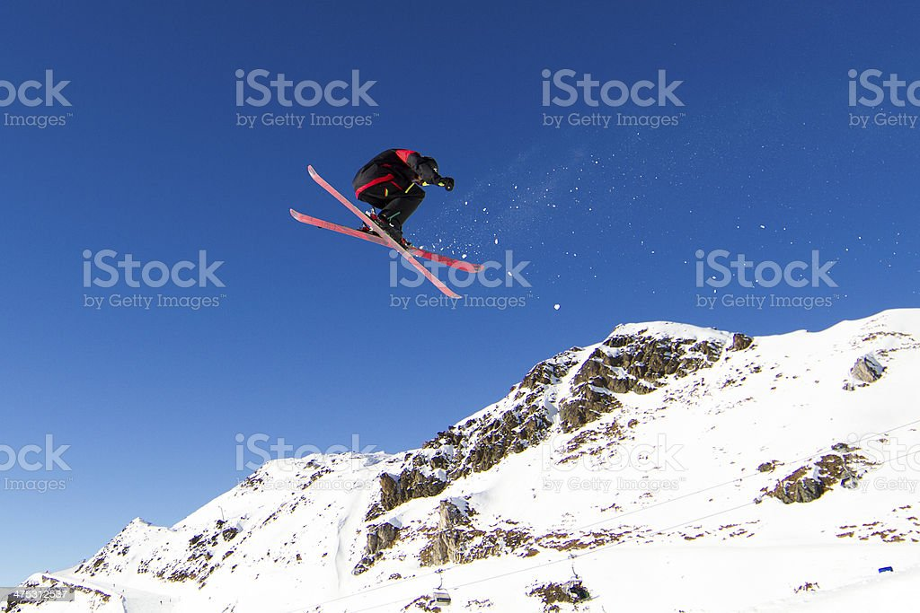 Skier doing big air stock photo