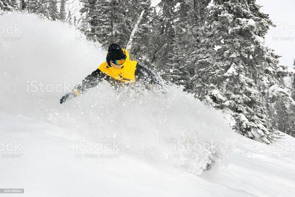 Skier extreeme backcountry speed ski stock photo
