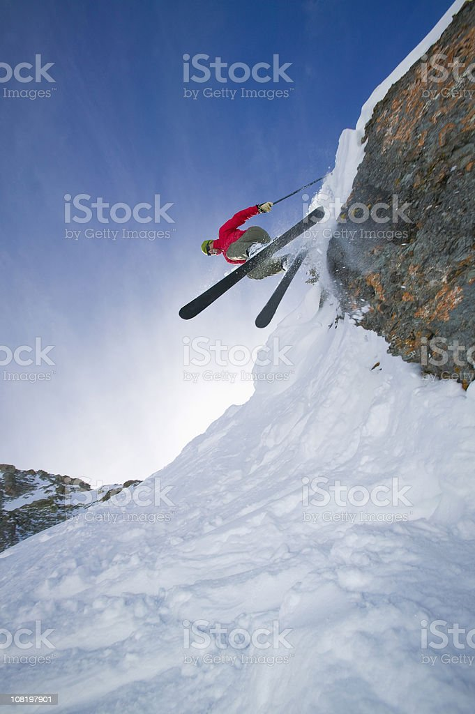 Skier getting air over a cliff royalty-free stock photo