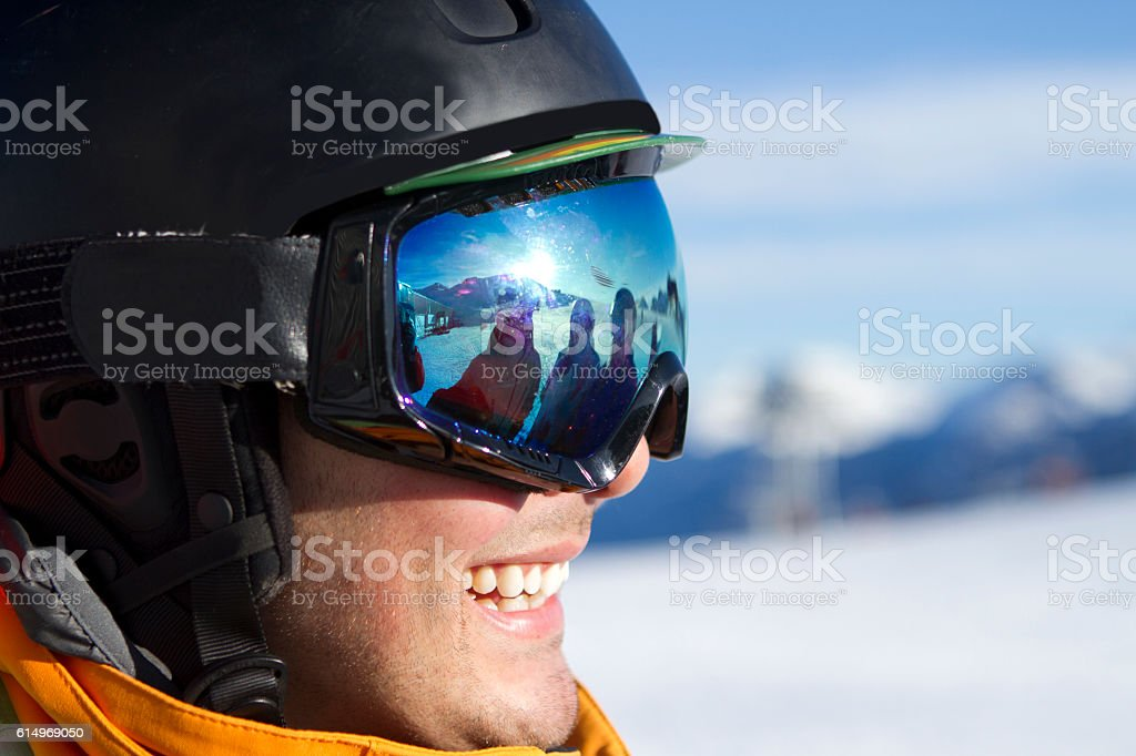 Skier getting ready for their run. stock photo