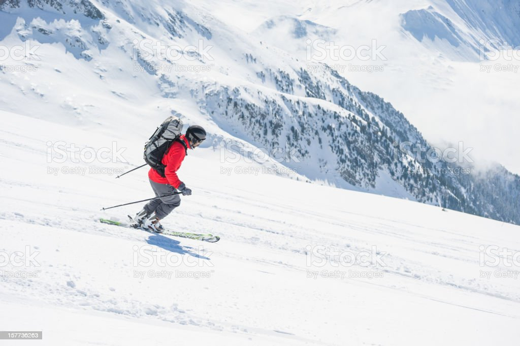 Skier Going Downhill royalty-free stock photo