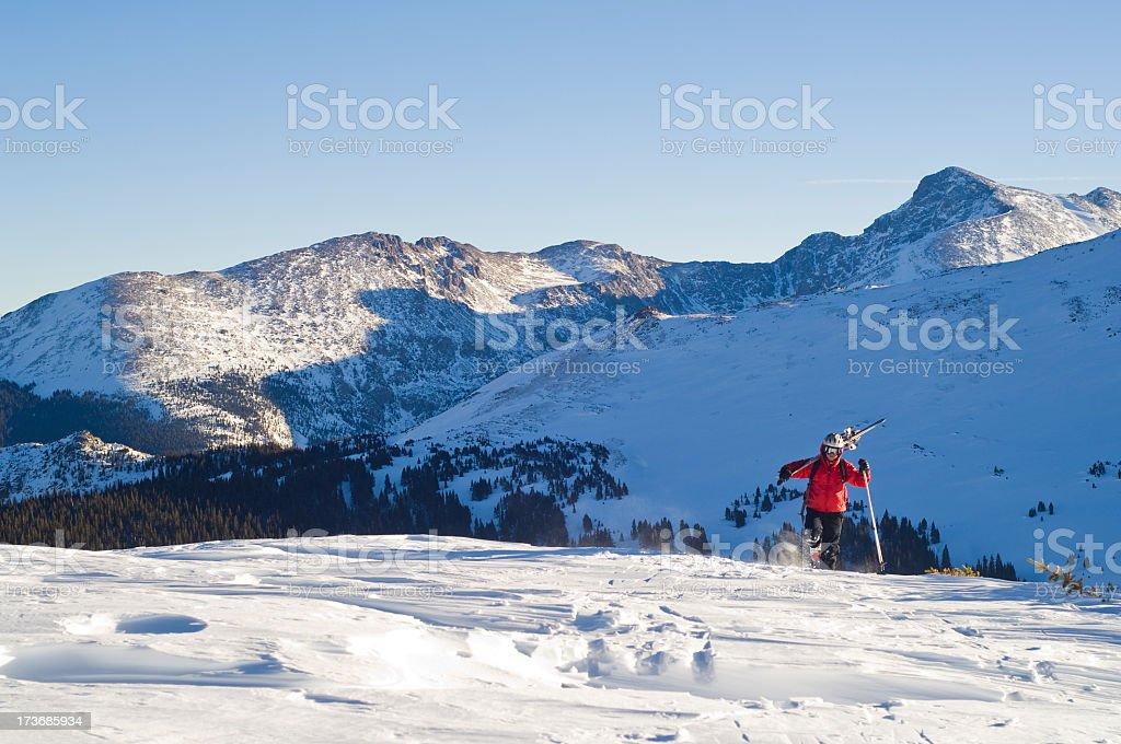 Skier Hiking stock photo