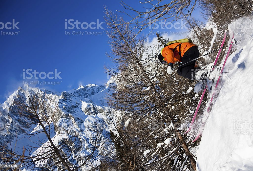 Skier in air stock photo