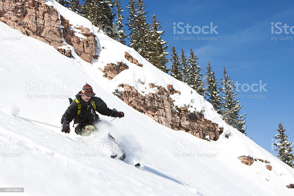 Skier in Awesome Powder royalty-free stock photo