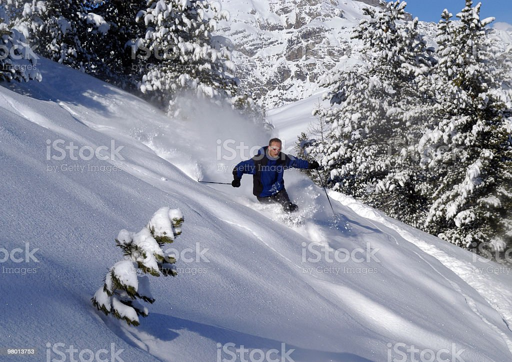 Sciatore in neve fresca royalty free stockfoto