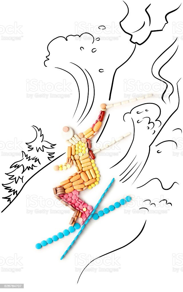 Skier in jump. stock photo