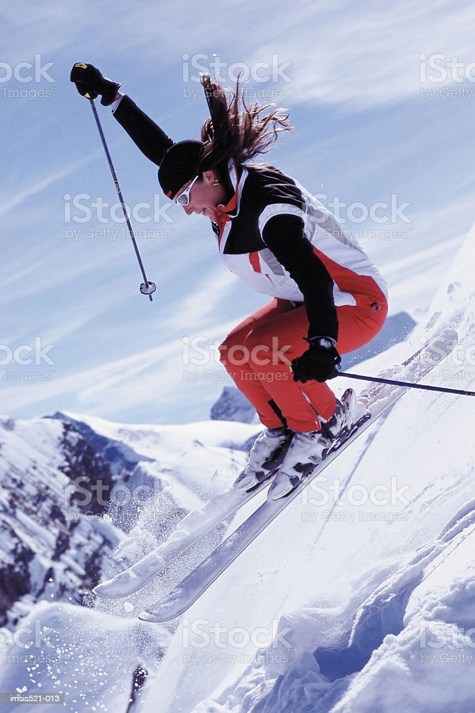 Skier in the air royalty free stockfoto