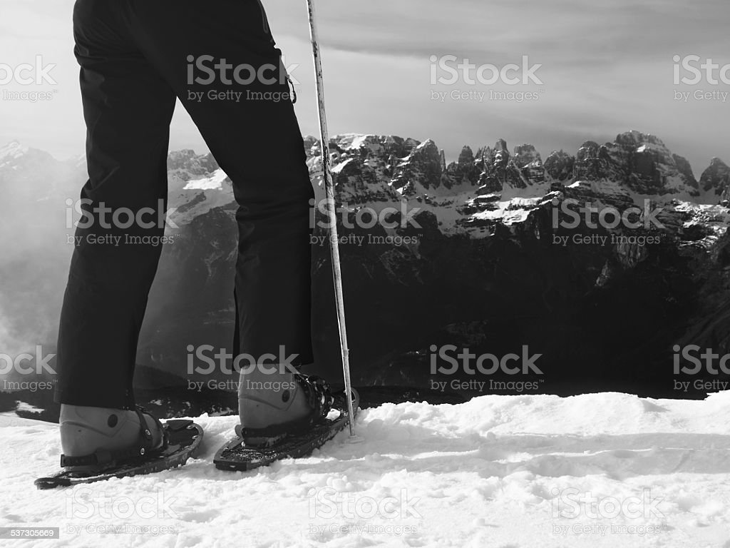Skier in winter jacket with  fun skis stay in snow stock photo