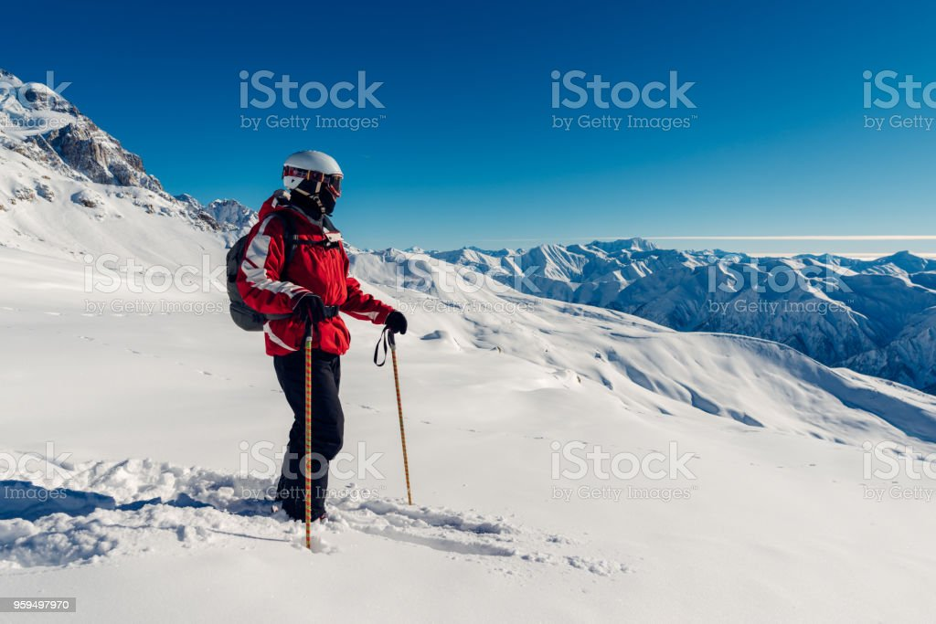 skier is staying with equipment stock photo