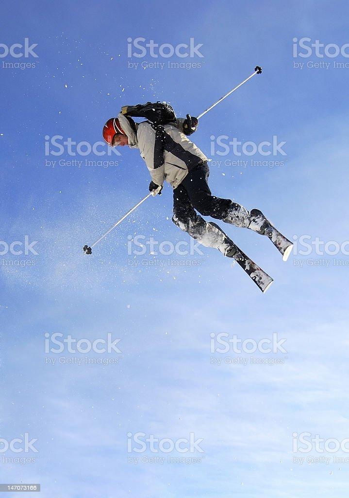 Skier jumping high royalty-free stock photo