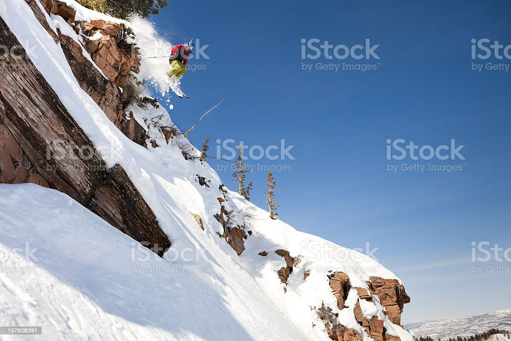 Skier Jumping Off Cliff royalty-free stock photo