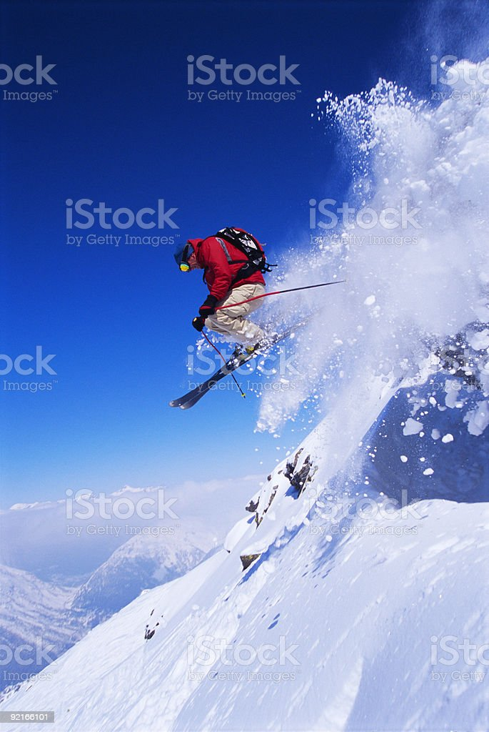 Skier jumping royalty-free stock photo