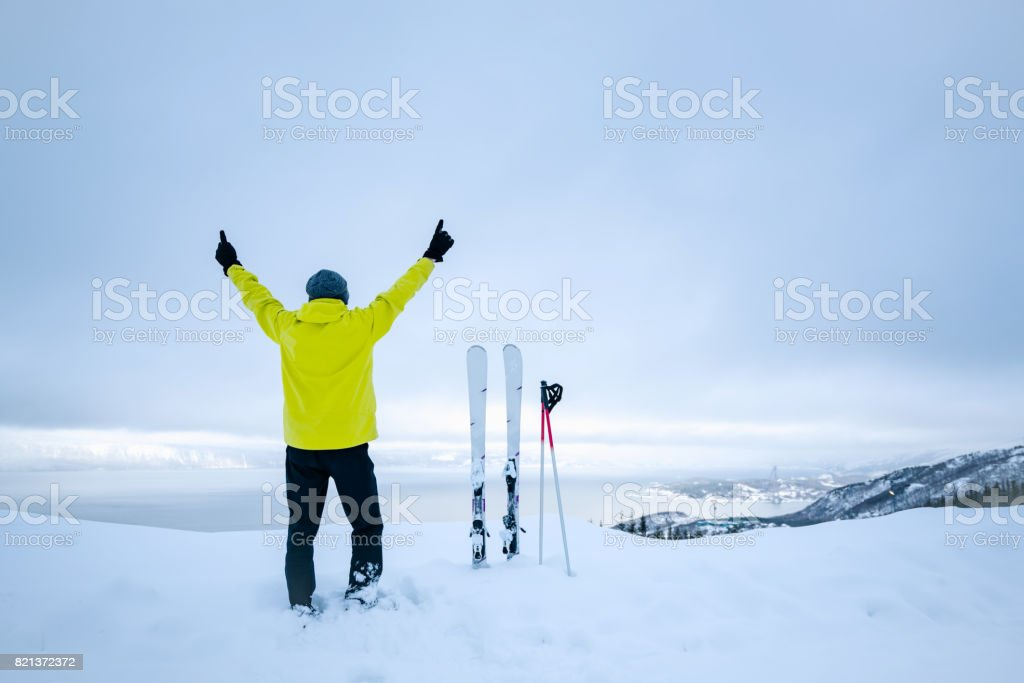 A skier look out across The View stock photo