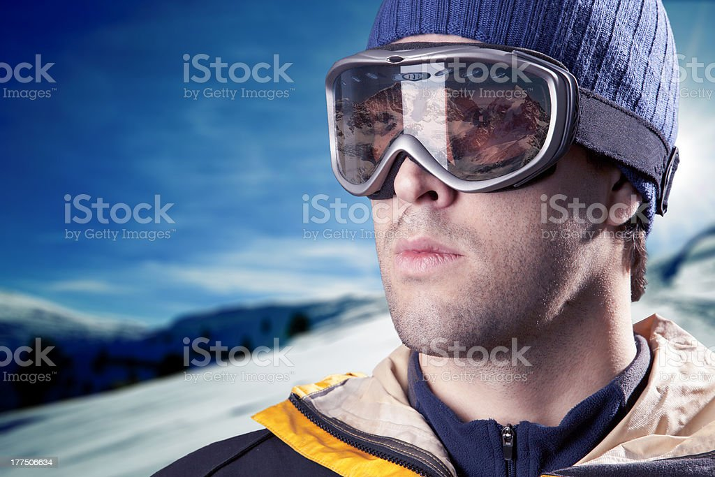 skier looking at the mountains royalty-free stock photo