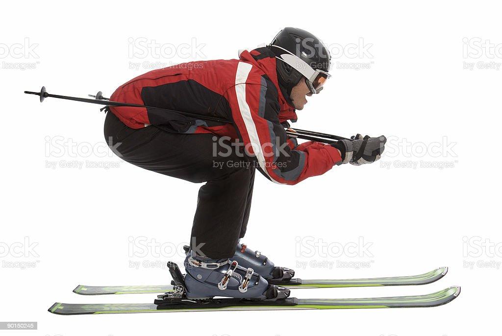 Skier man in aerodynamic pose royalty-free stock photo