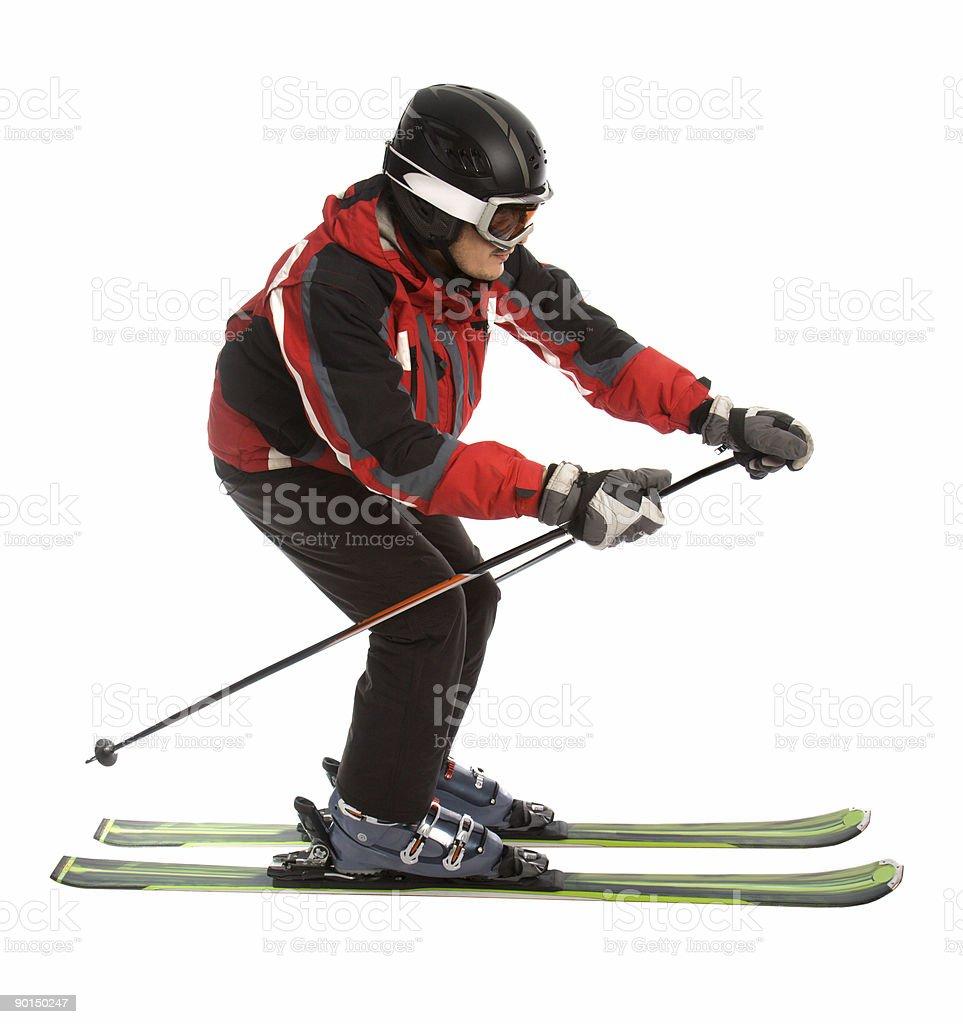 Skier man in ski slalom pose stock photo